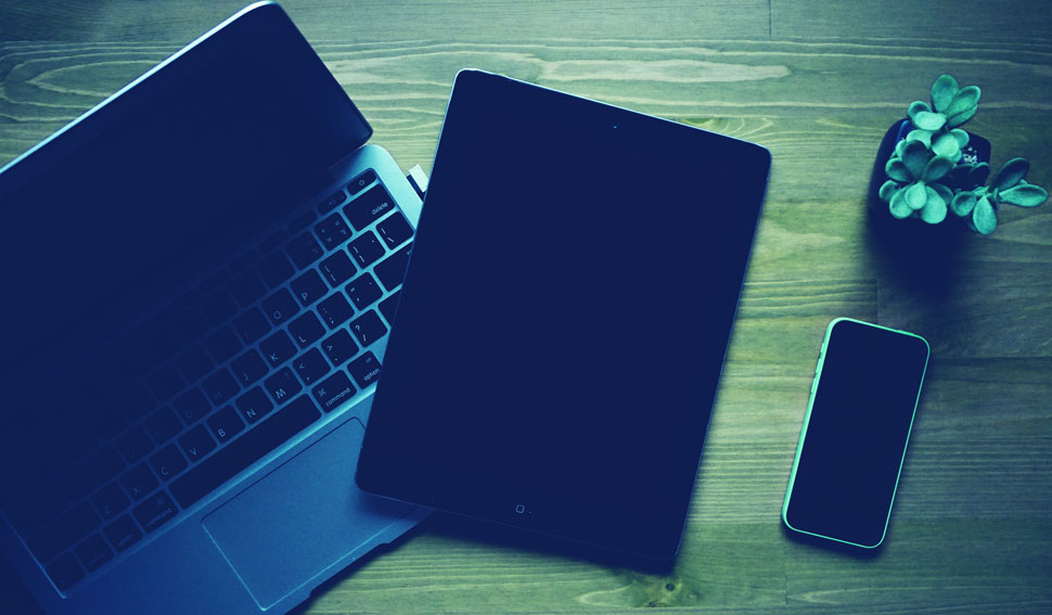 Laptop, tablet, and phone screens