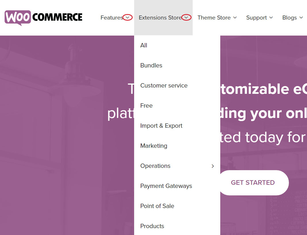 WooCommerce lets their users know there's more under each item with little arrows