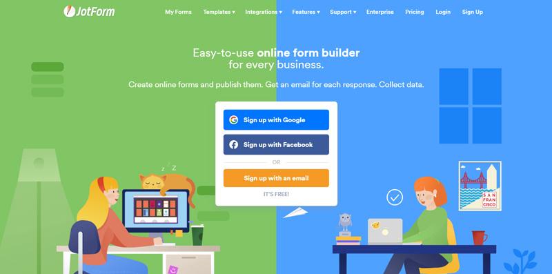 JotForm contact form generator homepage