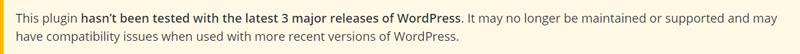 Warning message in the WordPress plugins' catalog