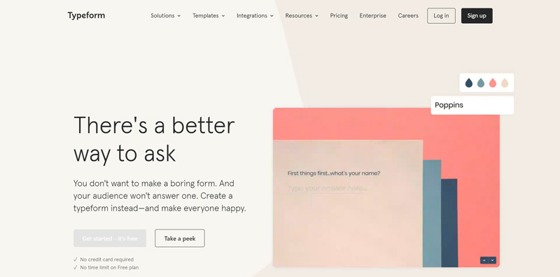 Typeform application homepage