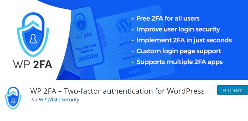 Page de l'extension WP 2FA dans le catalogue d'extensions WordPress